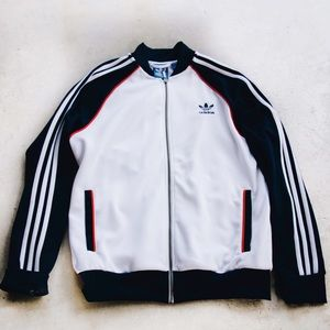 Red, White, and Navy Adidas Track Jacket